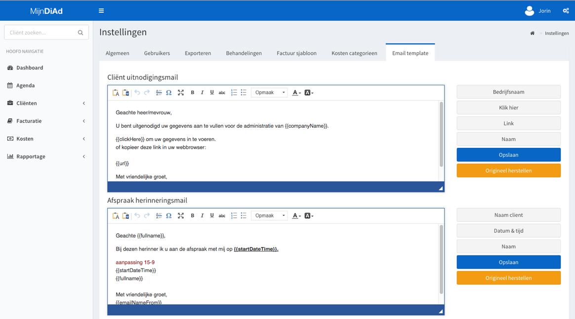 e-mailtemplates instellen
