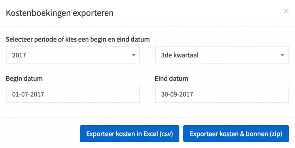 bonnen facturen exporteren